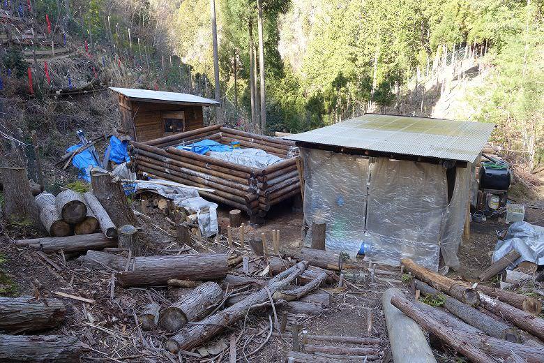 山林内の物置と作業小屋